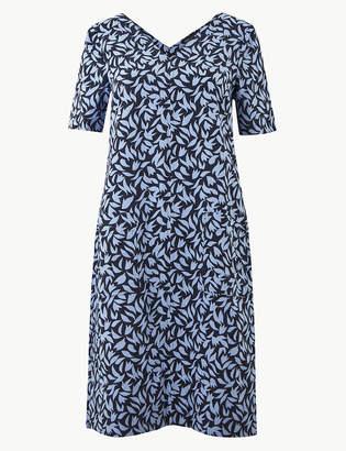 Marks and Spencer Linen Rich Leaf Print Shift Dress