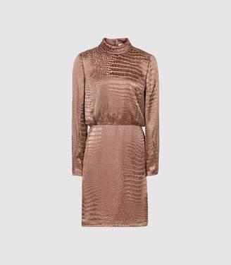Reiss Emma - Burnout Snake Pattern Dress in Bronze