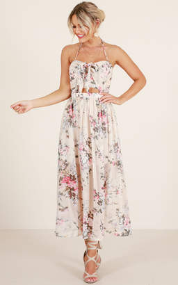 Showpo Reach for the Sky dress in blush floral