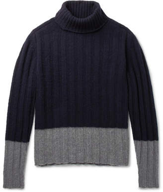 Piombo MP Massimo Colour-Block Ribbed Wool Rollneck Sweater