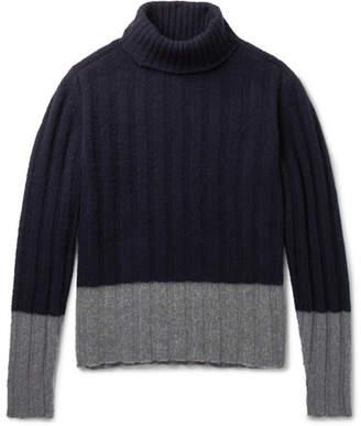 Piombo Mp Massimo MP Massimo Colour-Block Ribbed Wool Rollneck Sweater - Men - Blue