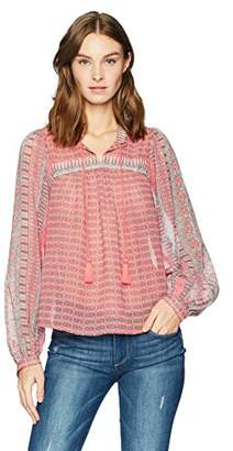 Lucky Brand Women's Border Print Peasant Top