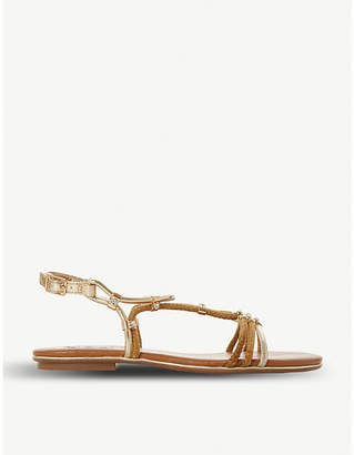 Dune Celeina embellished strappy suede court shoes