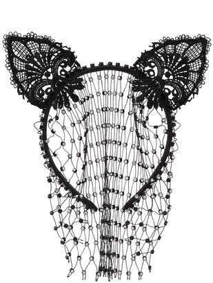 Charlotte Russe Embellished Lace Cat Ear Headband