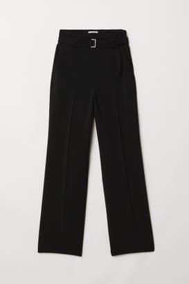 H&M Wide-leg Pants with Belt - Black