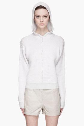 Alexander Wang Off-white Cotton Herringbone Knit Hooded Sweater