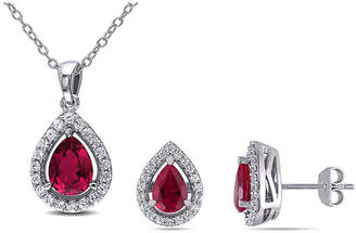 FINE JEWELRY Lab-Created Ruby & White Sapphire Earrings & Pendant Necklace 2-Piece Set