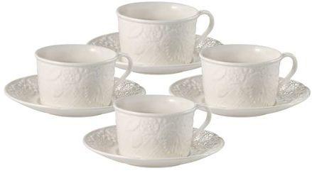 Mikasa English Countryside Teacups and Saucers, Set of 4