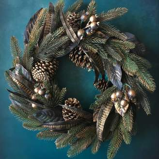 The Christmas Home Gold Cone And Feather Christmas Wreath