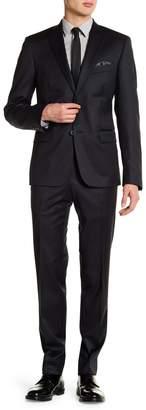 Nordstrom Rack Stripe Double Button Notch Collar Trim Fit Suit