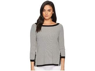 Lauren Ralph Lauren Ruffle-Trim Striped Sweater Women's Sweater