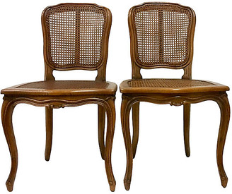 One Kings Lane Vintage Pair Of Carved Wood & Cane Chairs - Jacki Mallick Designs