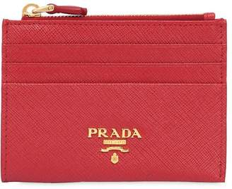 Prada Saffiano Leather Zip Card Holder