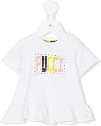 Emilio Pucci Junior logo printed peplum T-shirt