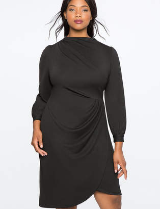 ELOQUII Drape Front Mock Neck Dress
