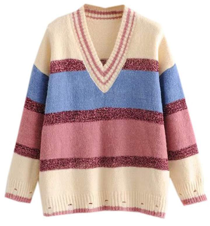 Goodnight Macaroon 'Polly' Metallic Stripe Color Block V-Neck Sweater