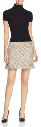 Paule Ka Knit & Natte Detail Mini Dress