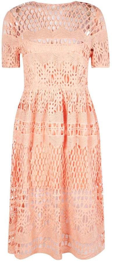 boohoo Boutique Vi Corded Lace Panelled Skater Dress