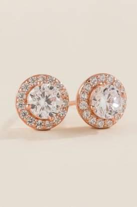 francesca's Holly Cubic Zirconia Stud Earrings - Rose/Gold