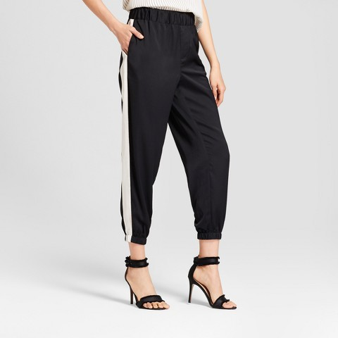 Who What Wear Women's Satin Jogger Pants - Who What Wear Black