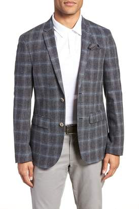 Sand Trim Fit Plaid Sport Coat
