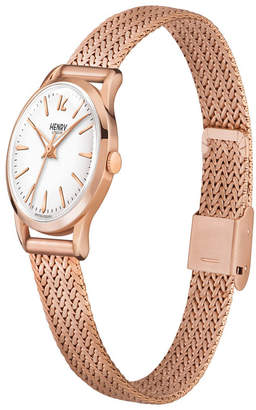 Richmond Henry London Ladies 25mm Rose Gold Stainless Steel Mesh Bracelet Watch with Rose Gold Stainless Steel Casing