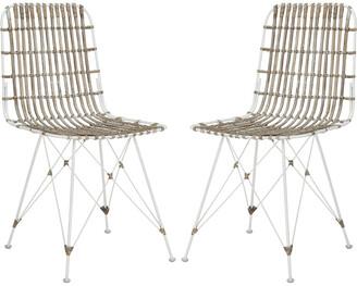 Safavieh Set Of 2 Minerva Wicker Dining Chairs