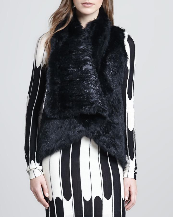 Alice + Olivia India Rabbit Fur Vest