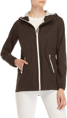 Cole Haan Black Packable Active Hooded Nylon Jacket