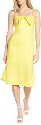 Forest Lily Bow Linen A-Line Dress