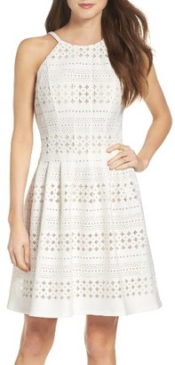 Women's Eliza J Laser Cut Fit & Flare Dress $148 thestylecure.com
