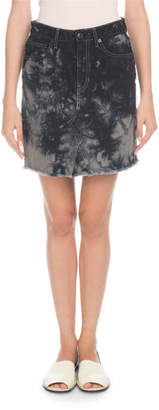 PSWL Bleached Denim Mini Skirt with Frayed Hem