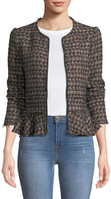 Rebecca Taylor Zip-Front Tweed Peplum Jacket