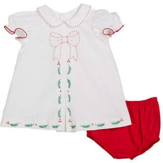 Luli & Me Merrymaker Peter Pan-Collar Dress w/ Bloomers, Size 9-24 Months