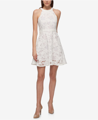 GUESS Floral Lace Fit & Flare Halter Dress $138 thestylecure.com