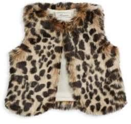 Miniclasix Baby Girl's Sleeveless Leopard Print Faux Fur Vest