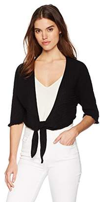 Three Dots Women's Double Gauze Short tie Front Cardigan
