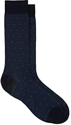 Barneys New York Men's Diamond Jacquard Cotton-Blend Mid-Calf Socks