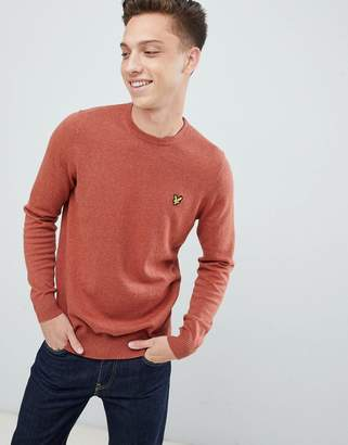 Lyle & Scott merino crew neck sweater in rust