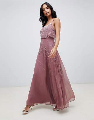 67c18a7148c8 Asos Design DESIGN cami maxi dress with delicate pearl and beaded crop top