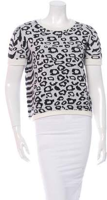 Intermix Knit Leopard Print Top