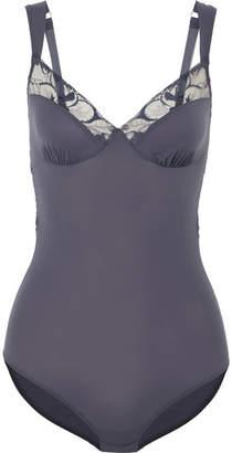 Hanro Manolya Cutout Lace-trimmed Jersey Bodysuit - Charcoal