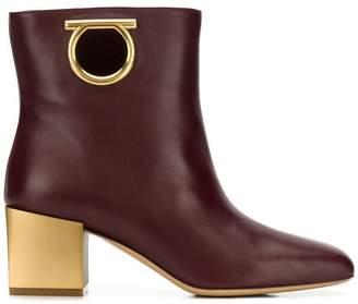 Salvatore Ferragamo Gancio block heel boots