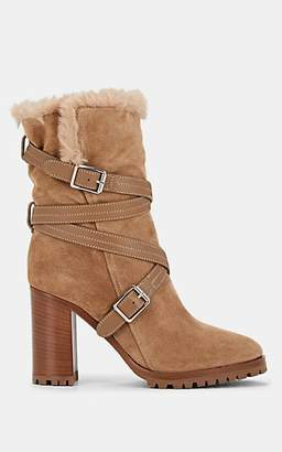 Gianvito Rossi Women's Suede & Faux-Fur Ankle Boots - Camel