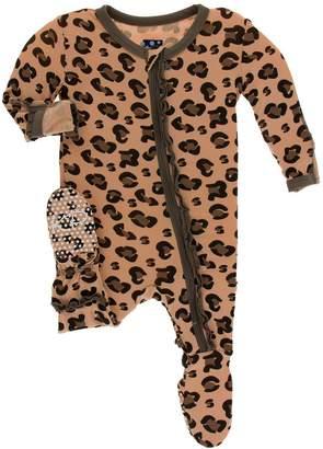 Kickee Pants Suede Cheetah Print Footie