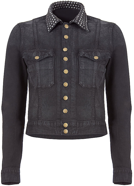 CURRENT ELLIOTT The Snap Jeans-Jacket With Studs Midnight