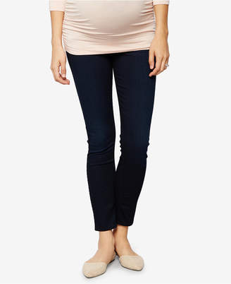 7 For All Mankind Maternity Blue Black Thames Wash Skinny Jeans