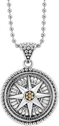 Lagos Signature Caviar Compass Pendant Necklace