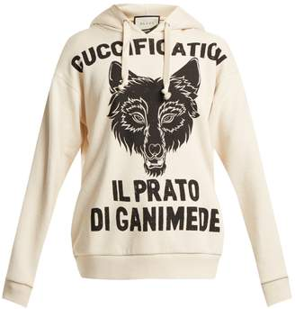 Gucci Wolf head-print cotton-jersey hooded sweatshirt