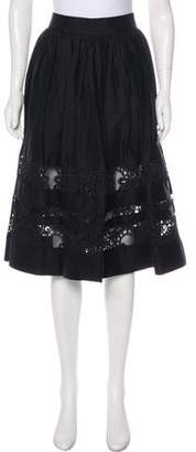 Alice + Olivia Guipure Lace Paneled Knee-Length Skirt